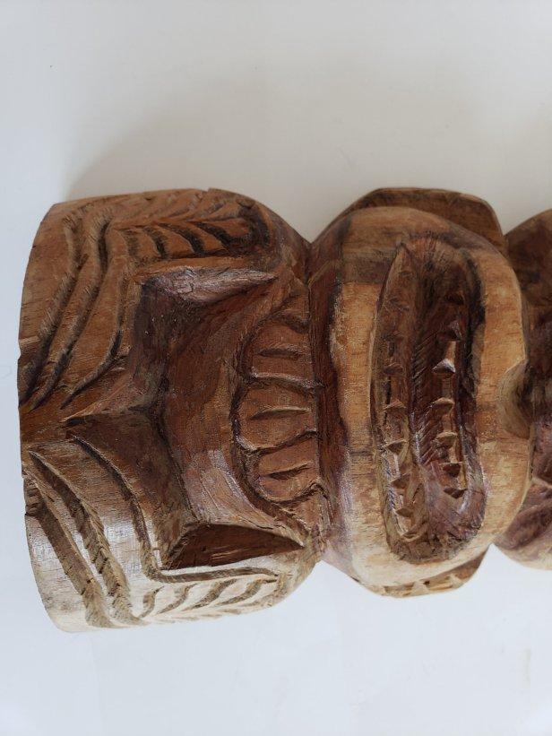 Maui vintage handcarved wooden tiki mask wall shelf decoration